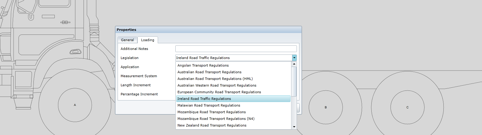 Choose legislation to apply to axle load and turning radius calculation