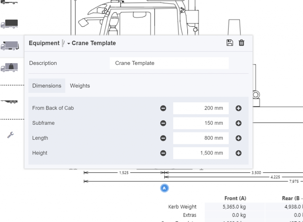 Edit dimensions or weights of your crane here