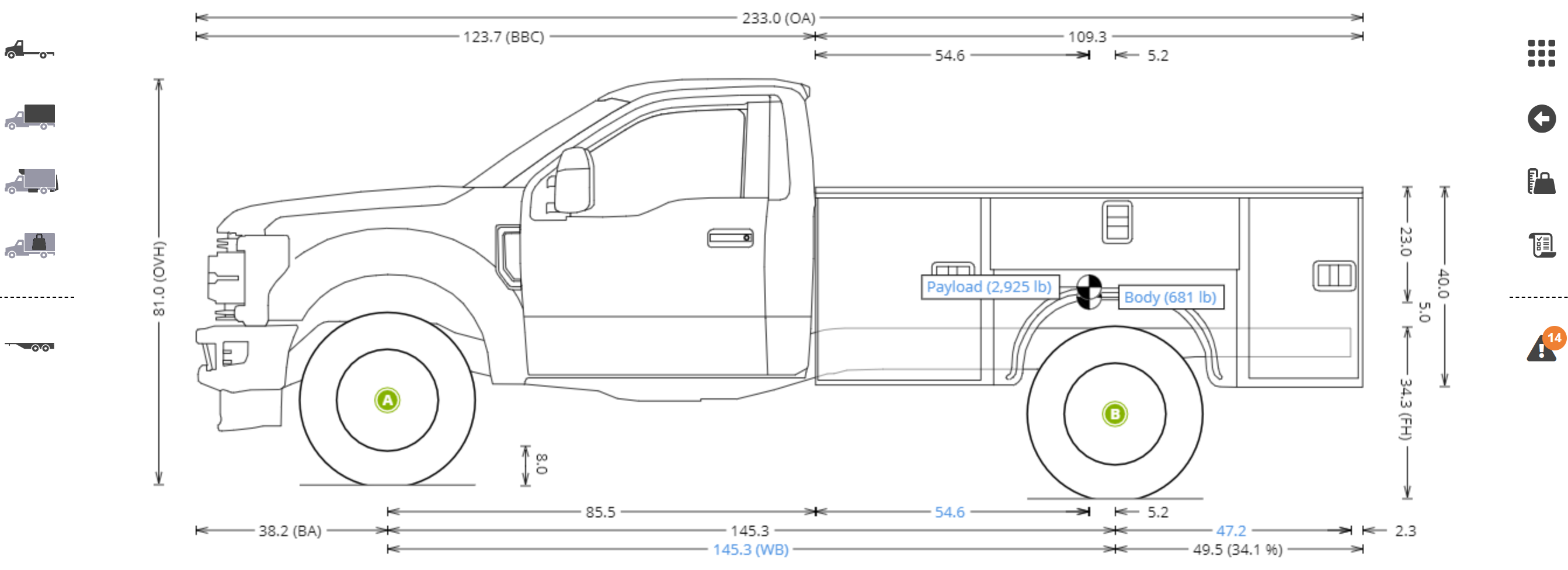 Calculate axle weights for work truck with service body